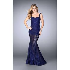 La Femme 24466 Prom Dress 2017 Long V-Neck Sleeveless ($498) ❤ liked on Polyvore featuring dresses, gowns, formal dresses, indigo, prom gowns, long prom dresses, long formal evening gowns, prom dresses and lace evening dresses