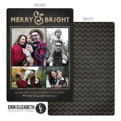Adorable Rustic Christmas Card Design.  Custom Photo Holiday card with Chevron background, perfect for the holidays!