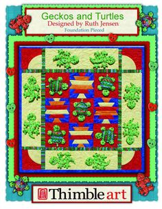 Thimble Art - Geckos and Turtles - Foundation Placed Pattern