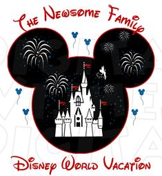 Mickey Mouse Head with Magic Kingdom Castle Vacation Personalized ANY Family name CUSTOM digital clip art iron on transfer for t-shirts My Heart Has Ears. How to make an iron on transfer: http://myhearthasears.com/faq/