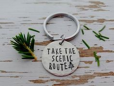 Take the scenic route key chain / explore / adventure / hand stamped key ring / pine tree /- wilderness / wanderlust travel / vacation fun. Diy Jewelry Stamping, Metal Stamping, Jewelry Crafts, Handmade Jewelry, Jewelry Ideas, Metal Embossing, Jewellery Diy, Jewelry Quotes, Earrings Handmade