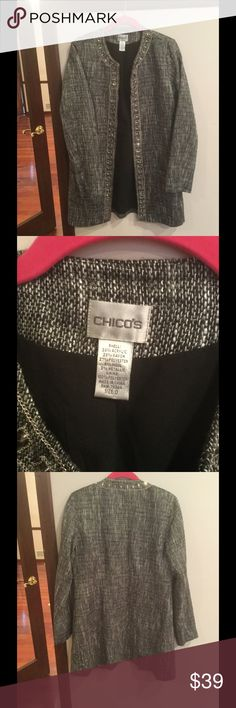 """Chico's jacket Pretty tweed jacket with """"jewels"""" around the collar and open front.  Beautiful and stylish - great with black dress pants.  Great gently used condition Chico's Jackets & Coats"""