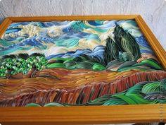 Картина панно рисунок Квиллинг Пшеничное поле с кипарисами Бумажные полосы фото 3