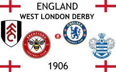 1906, England (1st WEST LONDON DERBY), Brentford F.C., Chelsea F.C., Fulham F.C., Queens Park Rangers F.C. #England (L18777) Brentford Fc, Queens Park Rangers Fc, Fulham Fc, Sports Logos, Football Match, Chelsea Fc, West London, Derby, Logo Design