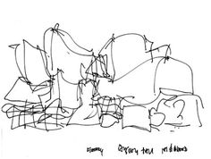 The interesting thing about Gehry's seemingly crazy sketches is that they are actually fairly aligned with the literal representation in their actual forms.
