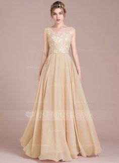 [US$ 139.99] A-Line/Princess V-neck Floor-Length Chiffon Lace Bridesmaid Dress With Beading Sequins (007105581)