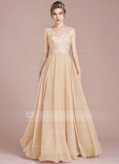 [NZ$ 202.49] A-Line/Princess V-neck Floor-Length Chiffon Lace Prom Dress With Beading Sequins (018116384)
