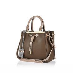 Khaki mini structured bag - shoulder bags - bags / purses - women