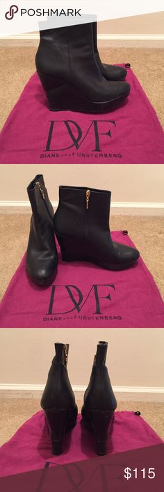Diane von Furstenberg Black Booties Black leather Diane von Furstenberg wedge booties with detailed stacked layers. You can spend the whole day in the these boots without your feet hurting. The quality of the boots is spectacular. Slight damage on both shoes on the back of the heel. No box but dust bag included. Size 9. Diane von Furstenberg Shoes Ankle Boots & Booties