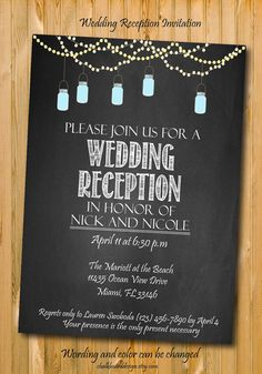 This listing is for a digital wedding reception invitation.You will receive a digital copy of the card in email and you can print as many card