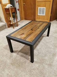 Steel and Wood coffee table by WhiterunWoodshop on Etsy