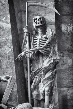Death, thou wast once an uncouth hideous thing, Nothing but bones, The sad effect of sadder groans: Thy mouth was open, but thou couldst not sing. Reaper Statue, Grim Reaper Art, Don't Fear The Reaper, Cemetery Statues, Cemetery Art, Cemetery Angels, Guerrero Tattoo, Reaper Drawing, Angels