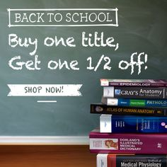 Back to School special: Buy one of our top #medschool titles and get another HALF OFF with FREE shipping! We're talking Netter Images, Gray's, Goljan, and more! Just click the image above and use promo code 07709 at check-out before Aug. 31! (Note: This offer is only valid for customers in the US, Latin America, and the Caribbean islands.) #medicalschool #medicine