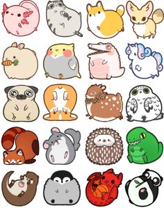 21 Ideas Funny Drawings Ideas Doodles For 2019 Cute Kawaii Drawings, Funny Drawings, Cute Animal Drawings, Kawaii Art, Adorable Drawings, Drawing Animals, Animals Watercolor, Fat Animals, Anime Animals