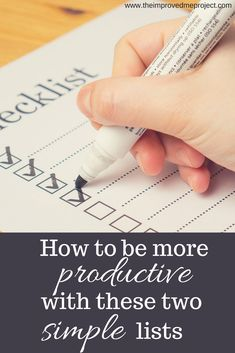 Be more productive and in control of your life by organizing your daily tasks in these two lists.
