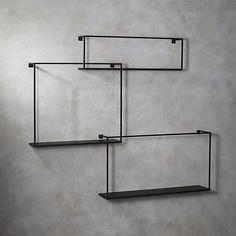 3-piece floating large matte black shelf set | CB2