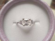 womens 3 stone cubic zirconia size 6 engagement ring silver plated  #Unknown #ThreeStone