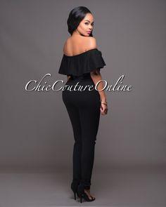 Chic Couture Online - Riyo Black Cut-Out Knees Off-The-Shoulder Jumpsuit. (http://www.chiccoutureonline.com/riyo-black-cut-out-knees-off-the-shoulder-jumpsuit/)