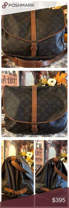 """AUTHENTIC LOUIS VUITTON SAUMUR 35 100% Authentic Louis Vuitton Saumur 35 Cross body bag. Perfect for traveling, the gym or every day use. Monogram canvas has no scratches or tears. Vachetta leather shows wear and stains on straps, minor cracks on buckle. Hardware has tarnished. Inside and pockets are in good condition. Minor cigarette smell. W13.7""""xH10.2""""xD9.44"""" Strap 38""""-47"""" No trades Louis Vuitton Bags Crossbody Bags"""