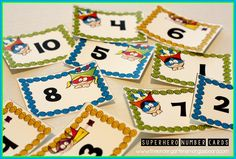 FREE!  Superhero number cards for numbers 1-20!