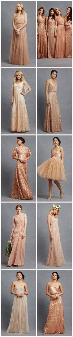 Blush bridesmaid dresses in so many gorgeous silhouettes and fabrics!