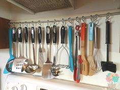 DIY Hanging Utensil Rack via @MeasuringFlower