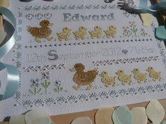 14 count New Baby 'Mummy Ducks' Blue/Boy by MaggieGeeNeedlework