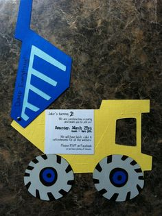 Dump truck construction party invite