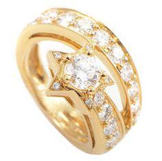 Chanel Comete Etoile Diamond Gold Band Ring