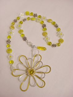Beaded yellow Spring flowers eye glass holder by 5DogsDesigns