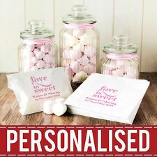 Personalised Sweet Bags Wedding Engagement Favour Candy Cart Buffet New