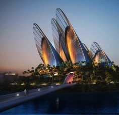 The newly developed Abu Dhabi island is set to house architecture by Pritzker Prize winners Frank Gehry, Sir Norman Foster, Jean Nouvel, Zaha Hadid and Tadao Ando Norman Foster, Unique Buildings, Interesting Buildings, Amazing Buildings, Future Buildings, Architecture Unique, Futuristic Architecture, Interior Architecture, Foster Architecture