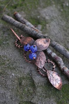 Copper brooch Blackthorn with handformed leaves by AnnTitovaDesign