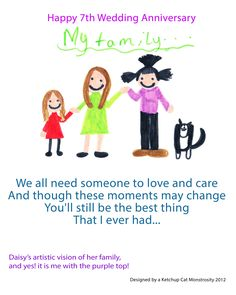 Daisy's artistic vision of her family,  and yes! it is me with the purple top!