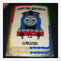 Thomas the Tank Engine for Cameron - 1/4 sheet cake with full top FBCT.