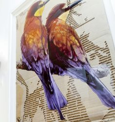 """""""Bee Eaters"""" Stencilled Aerosol on Ripped Cardboard by Snik"""