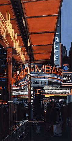 Available for sale from Marlborough Graphics, Richard Estes, Study XIII, Theater Color woodcut, 20 × 11 in Illinois, Holland Hotel, New York Theater, Hyper Realistic Paintings, Realistic Drawings, Photorealism, Online Gallery, Art Gallery, Urban Landscape