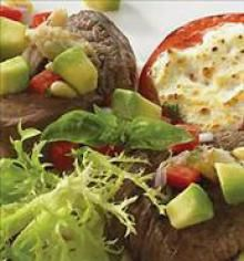 Grilled Irish Beer Marinated Beef Medallions with Goat Cheese topped Tomatoes #Avocados #StPatricksDay