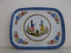 enamelled tray illustration Henriot Quimper by PrettyFrenchAttic