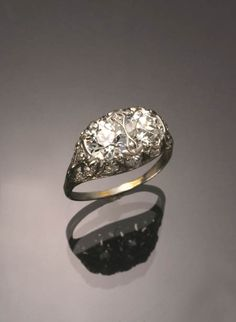 Art Deco Tested Platinum Twin-Diamond Dinner Ring  Circa 1930 Jewelry, Coins & Watches - Sale 1298 - Lot 149 - ADAM A. WESCHLER & SON, INC : AUCTIONEERS AND APPRAISERS - SINCE 1890
