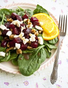 Spinach Feta Beet Salad with candied walnuts...healthy and good!