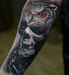 80 Coolest 3D Owl Tattoo Art Design Ideas: Red-eyed Owl And Skull Tattoo