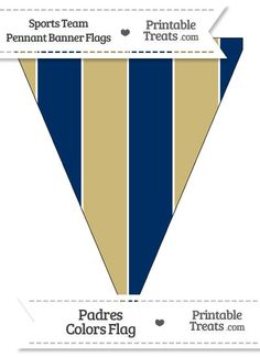 Padres Colors Pennant Banner Flag from PrintableTreats.com