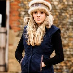 Navy Faux Suede Gilet with Faux Fur Collar by Annabel Brocks. Easy to wear and with colour ways that are practical and stylish. Available in a faux suede or British wool tweed. Faux Fur Collar, Fur Collars, Dresses Uk, Tweed, Fashion Accessories, Winter Hats, Stylish, Lady