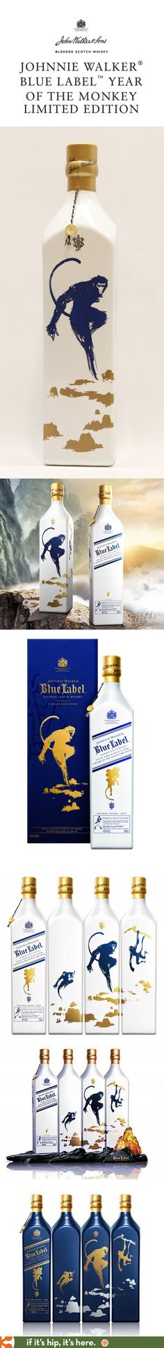 Johnnie Walker Blue Label Year Of The Monkey Limited Edition Bottle variations for Asia and US.