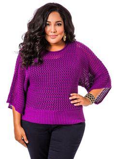 Ashley Stewart Open Weave Dolman Sleeve Sweater