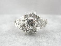 Vintage Diamond Ring, Retro Era Cocktail Ring, Platinum and Diamond Statement, Engagement Alternative ZU3W43-R by MSJewelers on Etsy https://www.etsy.com/listing/206397017/vintage-diamond-ring-retro-era-cocktail