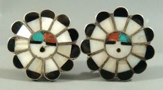BIG Vintage 1950's ZUNI Pawn Sterling Silver Multi Stone Inlay SUNFACE Earrings #ZuniOldPawn