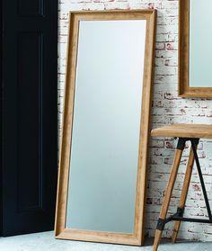 "Fraser Leaner FULL LENGTH floor MIRROR wall hung OAK effect 60""x25"" 152 x 63cm: Amazon.co.uk: Kitchen & Home"