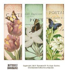 Ephemera's Vintage Garden: floral butterfly bookmarks